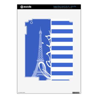 Han Blue Horizontal Stripes; Paris iPad 3 Skins