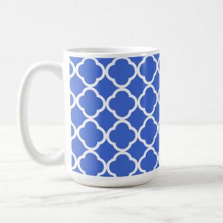 Han Blue Moroccan Quatrefoil Classic White Coffee Mug