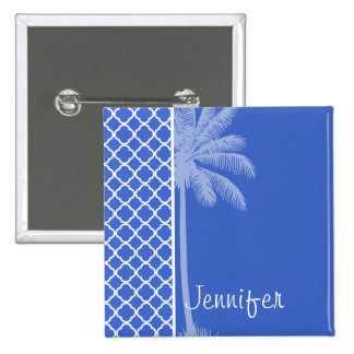 Han Blue Moroccan Quatrefoil; Palm Button