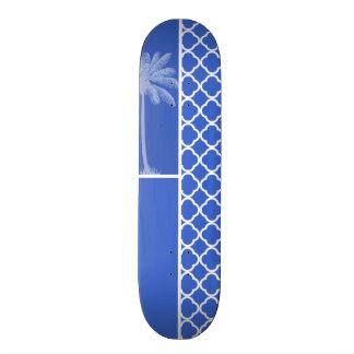 Han Blue Moroccan Quatrefoil; Palm Skateboard