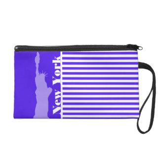 Han Purple Horizontal Stripes; New York City Wristlet Purse