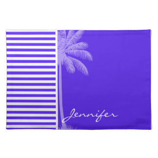 Han Purple Horizontal Stripes Palm tree Place Mats