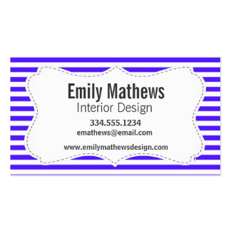 Han Purple Horizontal Stripes; Striped Double-Sided Standard Business Cards (Pack Of 100)