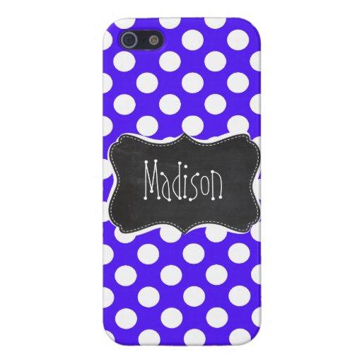 Han Purple Polka Dots; Chalkboard Cases For iPhone 5