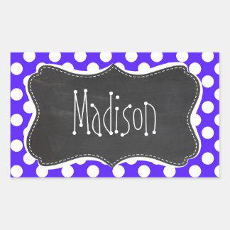 Han Purple Polka Dots; Chalkboard Rectangular Sticker