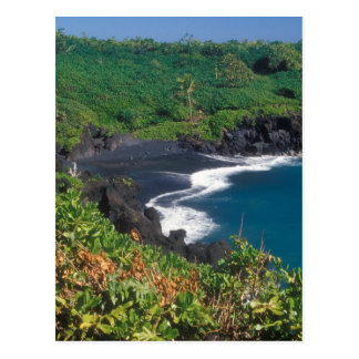 Hana Black Sand Beach Maui Hawaii Postcard