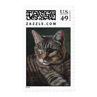 Hana Gray Tabby Cat Stamps