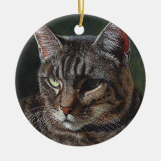 Hana Tabby cat painting art Christmas Tree Ornament