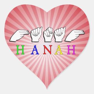 HANAH  NAME FINGERSPELLED ASL HAND SIGN HEART STICKER