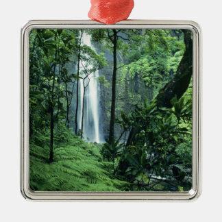 Hanakapiai Falls along the Na Pali Coast, Kauai, Square Metal Christmas Ornament