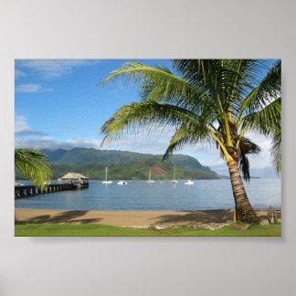 Hanalei Bay and Pier Kauai, Hawaii Poster