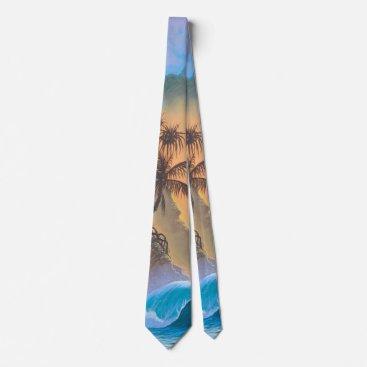 Ocean Themed Hanalei Bay Beach Surf Tie
