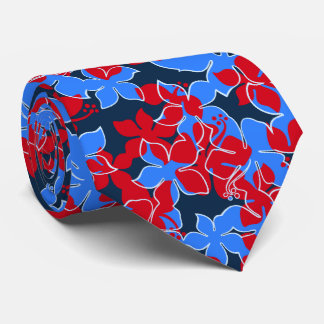 Hanalei Hawaiian Hibiscus Floral Two-sidedPrinted Tie