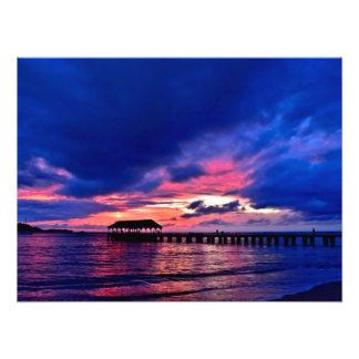 Hanalei Pier at Sunset - Kauai, Hawaii Photo Print
