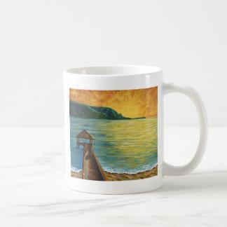 """""""Hanalei Pier"""" w/Hawaii Islands Coffee Mugs"""