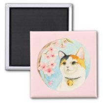 Hanami | Calico Cat and Cherry Blossom Watercolor Magnet