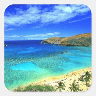 Hanauma Bay Beach Aloha! Square Sticker