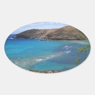 Hanauma Bay Cliff Oval Sticker