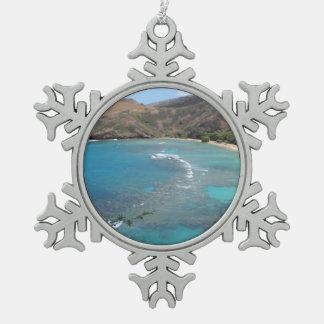 Hanauma Bay Cliff Snowflake Pewter Christmas Ornament