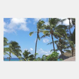 Hanauma Bay Hawaii Coconut Trees Rectangular Sticker