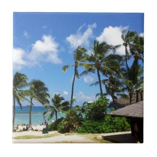 Hanauma Bay Hawaii Coconut Trees Tile