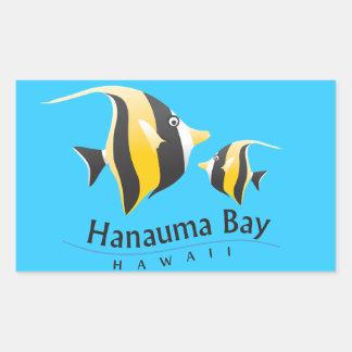 Hanauma Bay Hawaii Moorish Idol Fish Rectangle Stickers