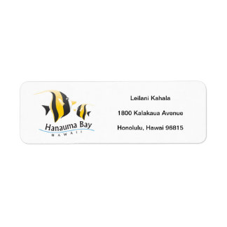 Hanauma Bay Hawaii Moorish Idol Return Address Label