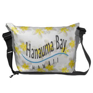 Hanauma Bay Hawaii Plumeria Flower Messenge Bag
