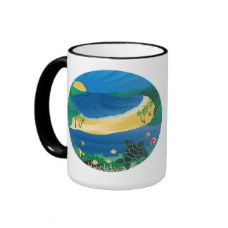 Hanauma Bay Hawaii Ringer Coffee Mug