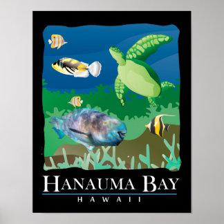Hanauma Bay Hawaii Sea Turtle and Parrot Fish Poster