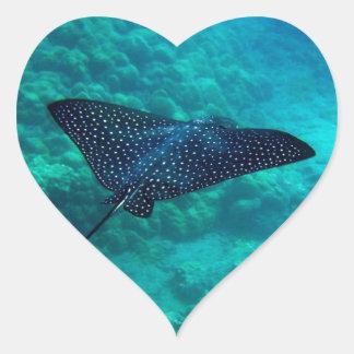 Hanauma Bay Hawaii Spotted Eagle Ray Heart Sticker