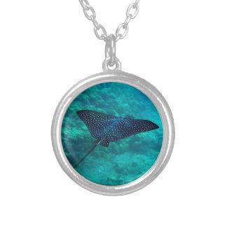 Hanauma Bay Hawaii Spotted Eagle Ray Silver Plated Necklace