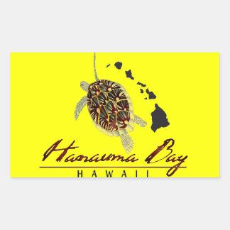 Hanauma Bay Hawaii Turtle and Hawaii Islands Rectangular Sticker