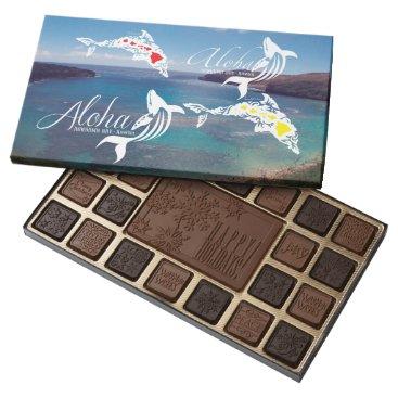 Beach Themed Hanauma Bay Hawaii Whale and Dolphins 45 Piece Box Of Chocolates