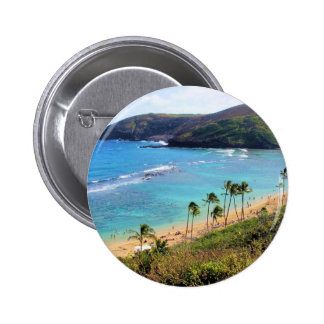Hanauma Bay, Honolulu, Oahu, Hawaii View Pinback Button