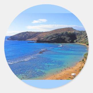 Hanauma Bay, Honolulu, Oahu, Hawaii View Round Sticker