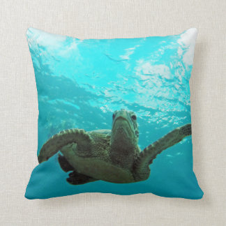 Hanauma Bay Oahu Turtle Throw Pillows