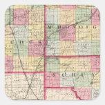 Hancock, McDonough, condados de Schuyler Pegatina Cuadrada