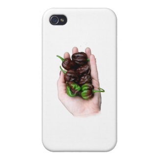 Hand and Chocolate Hot Habanero Peppers iPhone 4 Cover