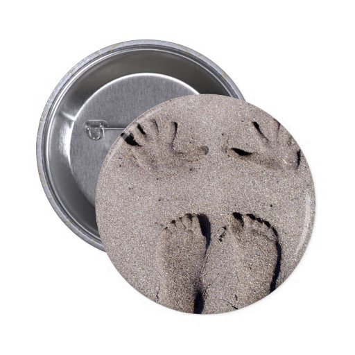 Hand and Feet prints in Florida beach sand Pinback Buttons