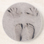Hand and Feet prints in Florida beach sand Coaster
