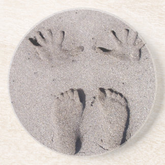 Hand and Feet prints in Florida beach sand Coaster