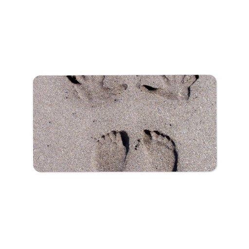 Hand and Feet prints in Florida beach sand Custom Address Label