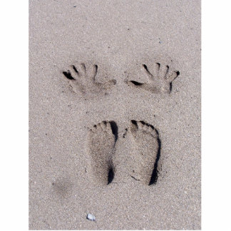 Hand and Feet prints in Florida beach sand Photo Sculpture