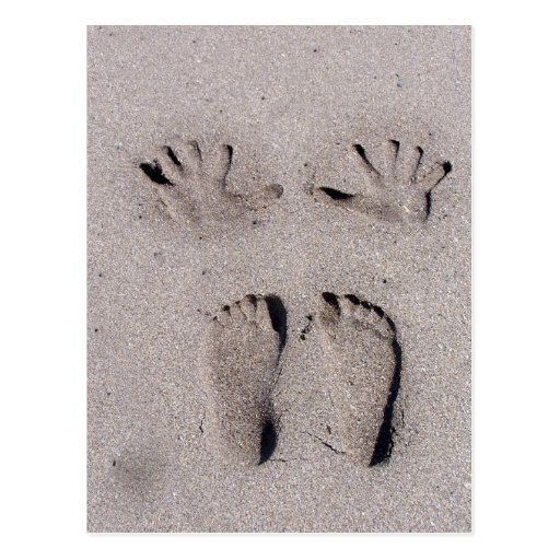Hand and Feet prints in Florida beach sand Post Card