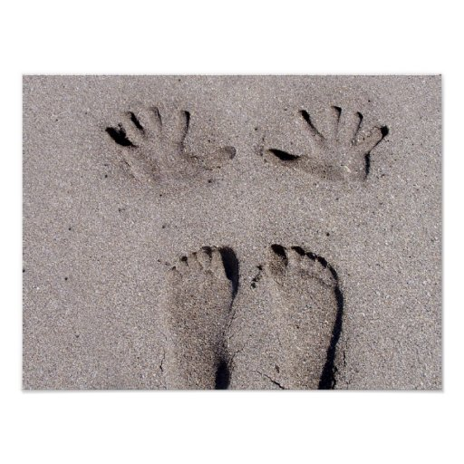 Hand and Feet prints in Florida beach sand Poster