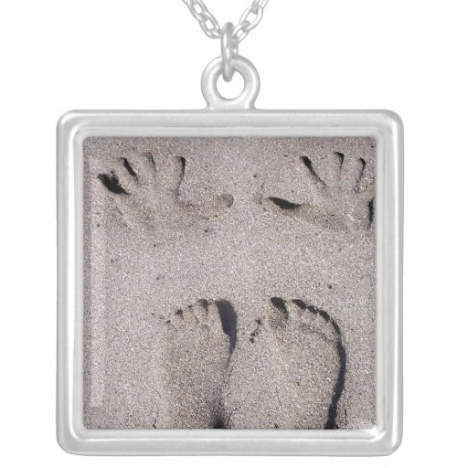Hand and Feet prints in Florida beach sand Square Pendant Necklace