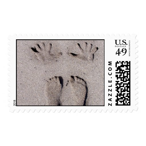 Hand and Feet prints in Florida beach sand Stamps