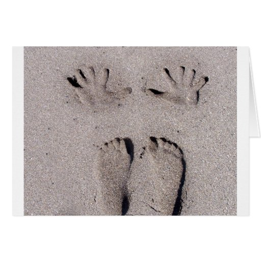 Hand and Feet prints in Florida beach sand Stationery Note Card