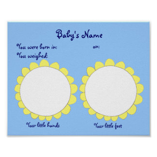 Hand and Foot Print New Baby poster blue/flowers